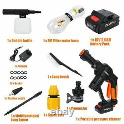 18V Car Cordless High Pressure Cleaner Washer Gun Water Pump Hose Nozzle Battery