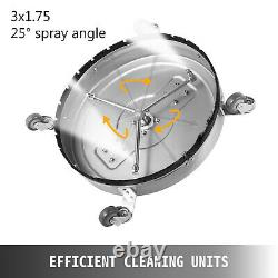 24 Flat Surface Cleaner Stainless Steel Hot Cold Water Pressure Washer Wheels