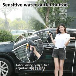 Cordless Pressure Cleaner Car Washer Gun & Water Hose Nozzle Outdoor+2 Battery