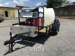 Hot Water Pressure Washer Trailer Mounted-6gpm, 4000psi-Honda GX630