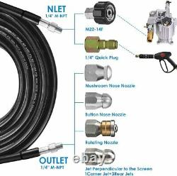 Sewer Jetter Nozzles Kit 100FT Drain Cleaning Hose for Pressure Washer 5800PSI