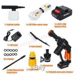 18v Sans Fil Cleaner Laveuse À Pression Pistolet Tuyau D'eau Buse Kit + Batterie / Chargeur