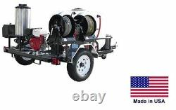 Pressure Laveuse Hot Water Trailer Mount 200 Gal 4 Gpm 4000 Psi 12v Ar