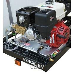Système De Remorque De Laveuse De Pression Eau Froide 3800 Psi 150 Gal 8.5hp 3.5 Gpm